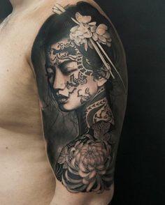 ▷ 1001 coole und effektvolle Samurai Tattoo Ideen japanese tattoo, woman with black hair, flowers Japanese Tattoo Art, Japanese Tattoo Designs, Tattoo Designs Men, Samurai Tattoo, Tatoo Art, Body Art Tattoos, Tattoo Boy, Asian Tattoos, Black Tattoos