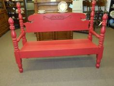 SOLD - This was once a full size bed but has been re-purposed as a bench, painted & lightly distressed.***** In Booth A6 at Main Street Antique Mall 7260 E Main St (east of Power RD on MAIN STREET) Mesa Az 85207 **** Open 7 days a week 10:00AM-5:30PM **** Call for more information 480 924 1122 **** We Accept cash, debit, VISA, Mastercard, Discover or American Express