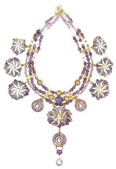 Tony Duquette (American, 1914-1999), 'Symbolizing Regeneration', 1990s. An amethyst, zircon and vermeil necklace with mabe pearl pendant, with original box, length 21in (53.2cm). Sold for $15,860