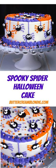 Spooky Spider Halloween Cake - Fun and festive spider cake is easy to make, incredibly delicious, and a must for Halloween! | ButtercreamBlondie.com