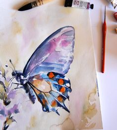 Blue Purple Butterfly Original Watercolor Painting by CanotStop