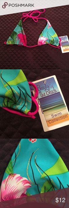 Beauty and the Beach Swim Suit Top Beauty and The Beach Swim Suit Top. Never been worn it's a Medium. This is a super slinky tiny bikini top. Mix and match and make a fun unique bikini so CUTE ☀️☀️ Beauty and The Beach Swim Bikinis