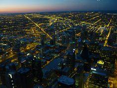 Coucher de soleil sur Chicago Downtown