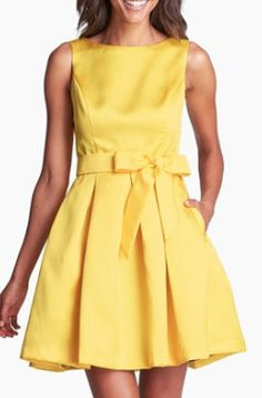 #yellow fit and flare dress  http://rstyle.me/n/mnsuspdpe