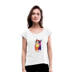 Geschenke Shop   Cat Color 001 - Frauen T-Shirt mit gerollten Ärmeln Shirt Diy, Designing Women, V Neck, Tops, Fashion, Funny Women, Funny T Shirts, Cool Shirts, Men And Women