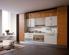 Koyu renkli modern bambu mutfak dolabı modeli