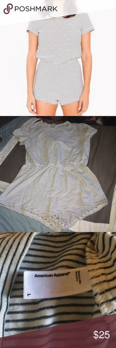 AA Romper Striped Creme & Black romper great condition size L but fits more of a medium/small not true to size tiny flaw a button in the back fell off see last picture American Apparel Other