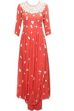 Cherry red floral work drape kurta with pants available only at Pernia's Pop-Up Shop.