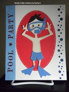 Paper Crafts, Pool Party Invite, Cricut, homemade card #cricut #poolpartyinvite