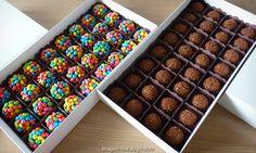 Caixa com 5 sabores diferentes de brigadeiros gourmet produzidos com chocolate belga Barry Callebaut, com 18 g cada.