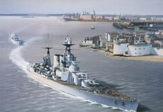 HMS Hood leaving Portsmouth 1935 by Ivan Berryman. Shown following her out is the E-Class destroyer HMS Express