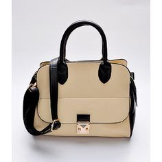 Two-Tone Convertible Satchel Cream, Black - One size- $58.00  from: yeswalker.com