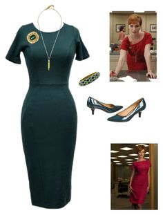 """Couture Costumes: Joan Holloway"" by vintageabbey ❤ liked on Polyvore featuring moda, Unique Vintage, Patricia Nicolas, Tiffany & Co., Salvatore Ferragamo e vintage"