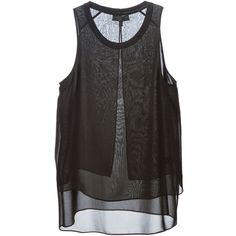 Rag & Bone layered sheer tank top (7 475 UAH) ❤ liked on Polyvore featuring tops, shirts, tanks, tank tops, double layer tank top, transparent shirt, rag bone shirt, double layer top and layering tanks
