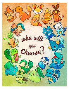 pokemon starters poster by michiscribbles on Etsy, $12.00