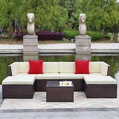 IKAYAA Outdoor Patio Garden Furniture Sofa Set 7PCS Cushioned Ottoman Corner Couch Sectional Furniture Rattan Wicker (Gray + Black Cushion + White Pillow) by IKAYAA, http://www.amazon.co.uk/dp/B01GHVQVV2/ref=cm_sw_r_pi_dp_d-hxzbM85VVHD
