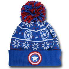 6201be6c5e6 Captain America Symbol Knit Pom Pom Beanie