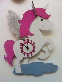 Girls Pink Unicorn Wall Clock £24.00 #girls #clock #unicorn
