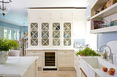 Christopher Peacock kitchen  Storage never goes out of style, and with so many great options and add-ons out there, this is a perfect way to make a real impact in your kitchen. Many storage-rich pieces feature furniture styling, such as these glass-front cabinets with diamond mullions designed by Christopher Peacock for a New York kitchen.