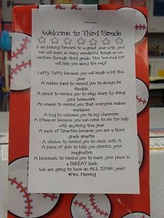 Cute first day grab bag with poem :) Definitely want to make this! Also, the teacher has some fabulous classroom photos and lots of great ideas! Must revisit this site at a later time.