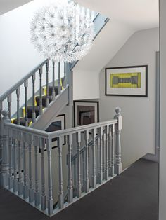 Grey staircase banister with white walls. House in Dublin 4 - contemporary - Staircase - Other Metro - Optimise Design Painted Banister, Stair Banister, Painted Staircases, Banisters, Railings, White Banister, Modern Staircase, Staircase Design, Staircase Ideas
