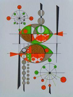 Atomic Retro Fish Painting