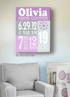 Birth Announcement Print Purple Baby Girl Nursery Wall Art -  Dahlia Collection - Canvas Art @Jenny Rawles  I know you don't know if it's boys or girls, but I thought this was super cute!