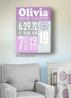 Birth Announcement Print Purple Baby Girl Nursery Wall by MuralMAX, $65.00