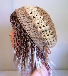 Caramel Slouchy Hat, Summer Boho Beanie, Crocheted Mesh Cool Comfortable, Hippie Ladies Gift, Tam, Rasta Beanie, Chic Ladies Hat by pinoakstudiotoo on Etsy Slouchy Beanie Hats, Bohemian Gypsy, Hats For Women, Boho Chic, Caramel, Crochet Hats, Mesh, Trending Outfits, Hat Patterns
