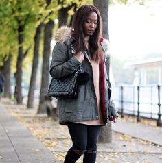 EMMA BRWN X MAZE  fashion inspo blogger parka fall autumn style