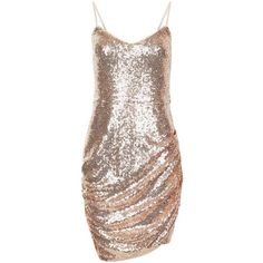 Parisian Shell Pink Sequin Ruched Side Dress (110 DKK) ❤ liked on Polyvore featuring dresses, vestidos, brown sequin dress, side gathered dress, brown pink dresses, side ruched dress and sequin cocktail dresses