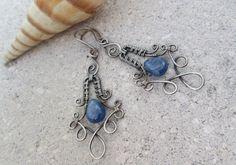 blue kyanite earrings in sterling silver. $48.00, via Etsy.