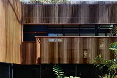 A veil of striated timber cladding wraps the decks, screening the rooms and ledges behind while uniting the spaces.