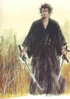 Artwork of Miyamoto Musashi, a legendary swordsman from feudal Japan. Samurai Tattoo, Samurai Art, Samurai Warrior, Anime Warrior, Vagabond Manga, Manga Anime, Anime Art, Era Meiji, Inoue Takehiko