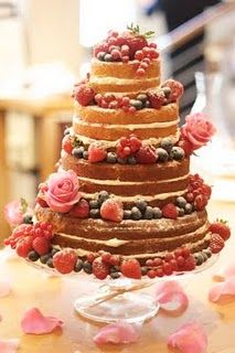Naked cake Could be done in angel food and cool whip Bolos Naked Cake, Naked Cakes, Pretty Cakes, Beautiful Cakes, Amazing Cakes, Beautiful Boys, Simply Beautiful, Victoria Sponge Wedding Cake, Victoria Wedding