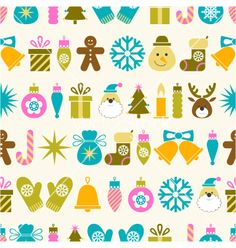 Seamless christmas pattern vector - by elenapro on VectorStock®
