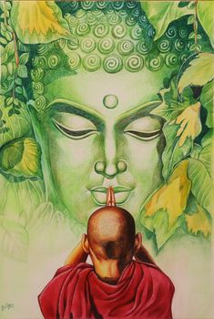 Buy Buddha artwork number a famous painting by an Indian Artist Chaitanya Kumar. Indian Art Ideas offer contemporary and modern art at reasonable price. Buddha Artwork, Buddha Painting, Krishna Painting, Bff Drawings, Art Drawings Sketches, Abstract Pencil Drawings, Budha Art, Buddha Drawing, Composition Painting