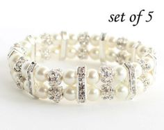 This bridesmaid pearl bracelet is made with 8 mm glass pearls, sparkling rhinestone balls and crystal rondelles. This stretch pearl bracelet will easily fit to your wrist.  This pearl cuff bracelet is approximately 7 (17.78 cm.) long. If you need other special size, please tell me. I will adjust length.  You can choose ivory and white pearl from color options.   Please visit my store to see the other wedding jewelry https://www.etsy.com/shop/asteriasbridal