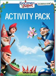 free gnomeo and juliet activity pack kit Book Activities, Gnomes, Sherlock, Statues, Coloring Books, Cinema, Packing, Printables, Kit