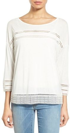 Caslon ® Lace Detail Three-Quarter Sleeve Top (Regular & Petite)