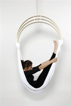 Yoga is amazing for body and soul, this is perception of yourself. Zen Circus yoga chair by designers Caroline Kermarrec, Alexia Moisan and Kevin Chair Design, Furniture Design, Hardwood Furniture, Leather Furniture, Meditation Chair, Chair Yoga, Meditation Space, Hanging Hammock Chair, Indoor Hammock
