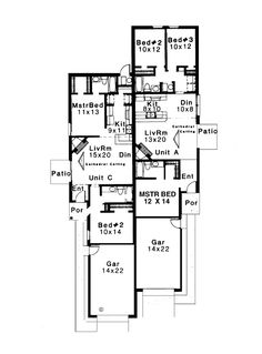 Curb appeal in traditional duplex plan 69377am narrow for Multi family house plans narrow lot