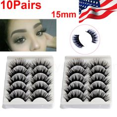 10Pairs Natural Long Eye Lashes Handmade Thick Black False Eyelashes Makeup Sets #Unbranded