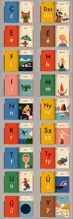 Hungarian Alphabet Book by Anna Kövecses, love the minimalism of the illustrations, the straigh-forward book design and the color palette. Buch Design, Graphisches Design, Layout Design, Cover Design, Logo Design, Design Ideas, Children's Book Illustration, Graphic Design Illustration, Simple Illustration
