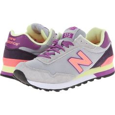 New Balance WL515 Women's Classic Shoes, Gray (2.100 RUB) ❤ liked on Polyvore featuring shoes, athletic shoes, grey, suede lace up shoes, multi colored athletic shoes, multicolor shoes, colorful athletic shoes and perforated shoes