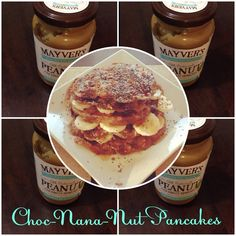 Ingredients Pancakes - 3/4 cup Rolled Oats, 4 Egg Whites, 2 Bananas mashed, 1 tsp Baking Powder Fillings - Mayvers Peanut & Coconut Spread, 1 Banana chopped Sprinkle with Cacao, Chia seeds and Agave Syrup (optional) Method With a hand mixer, mix all ingredients in together until well combined. Heat pancake maker or frypan with a tsp coconut oil then place mixture in until cooked through and browned. Layer pancakes with Mayvers Peanut & Coconut Spread and chopped Banana. Sprinkle with Cacao…