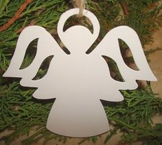 Set of 6 White Angel with Halo Silhouette Punched Tin Unique Christmas Ornament | eBay