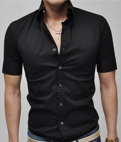 e3122116 Cage Corner MCS019 - Men Casual Turn-Down Collar Short Sleeve Shirt