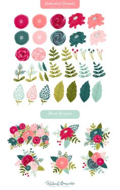 Wedding Graphics, Hand Drawn Flowers, Flower Clipart, Gouache Painting, Floral Bouquets, Pink Flowers, Exotic Flowers, Yellow Roses, Pink Roses