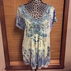One World Top 1X One World Top V-neck with embellising.  Green & blue's & gray's. Tops